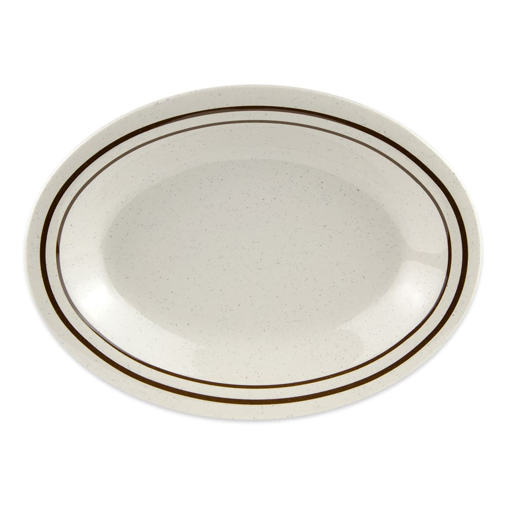 "GET OP-220-U Oval Serving Platter, 12"" x 9"", Melamine, White"