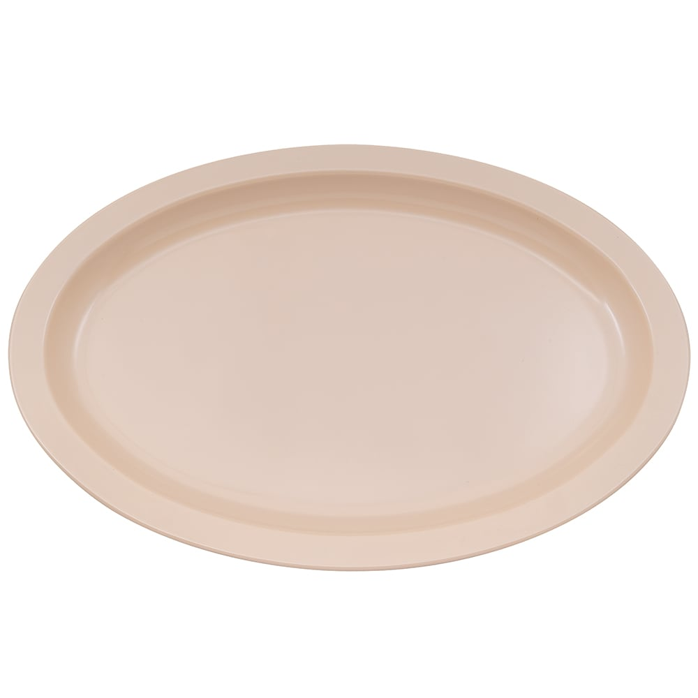"GET OP-616-T Oval Serving Platter, 15.75"" x 11"", Melamine, Tan"