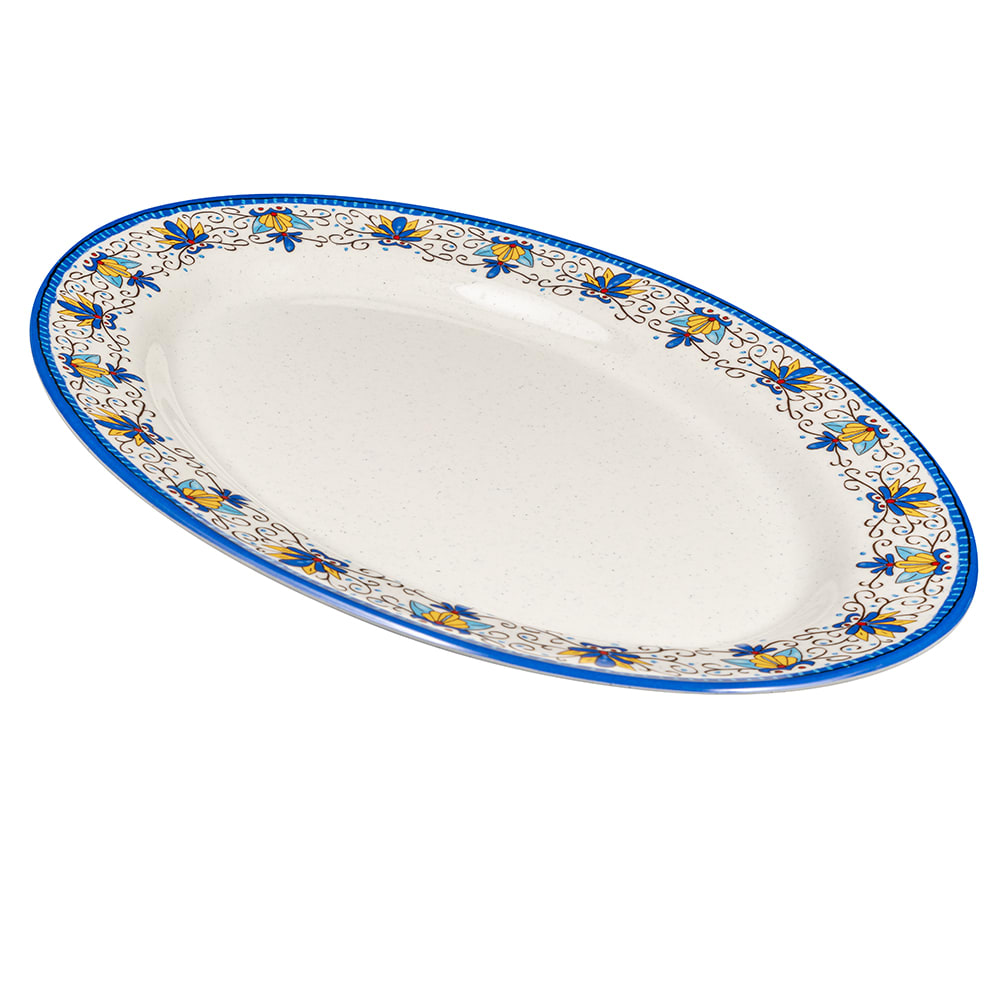 """GET OP-618-SL Oval Serving Platter, 18"""" x 13.5"""", Melamine, White"""