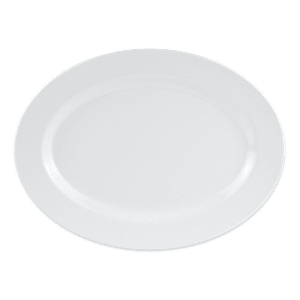 "GET OP-618-W Oval Serving Platter, 18"" x 13.5"", Melamine, White"