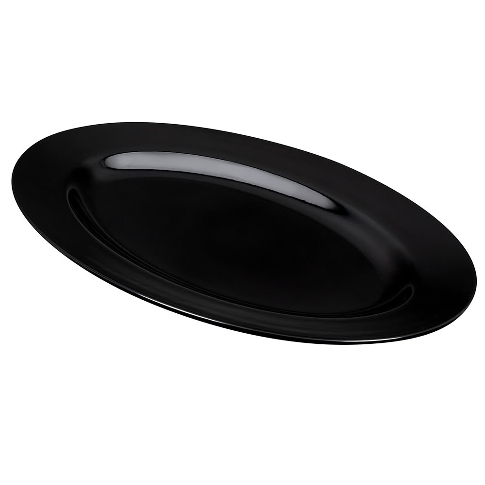 "GET OP-624-BK Oval Serving Platter, 23.25"" x 16.75"", Melamine, Black"