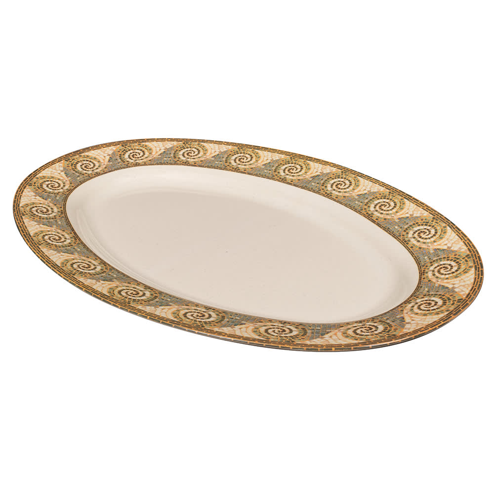 "GET OP-630-MO Oval Serving Platter, 30"" x 20.25"", Melamine, Brown"