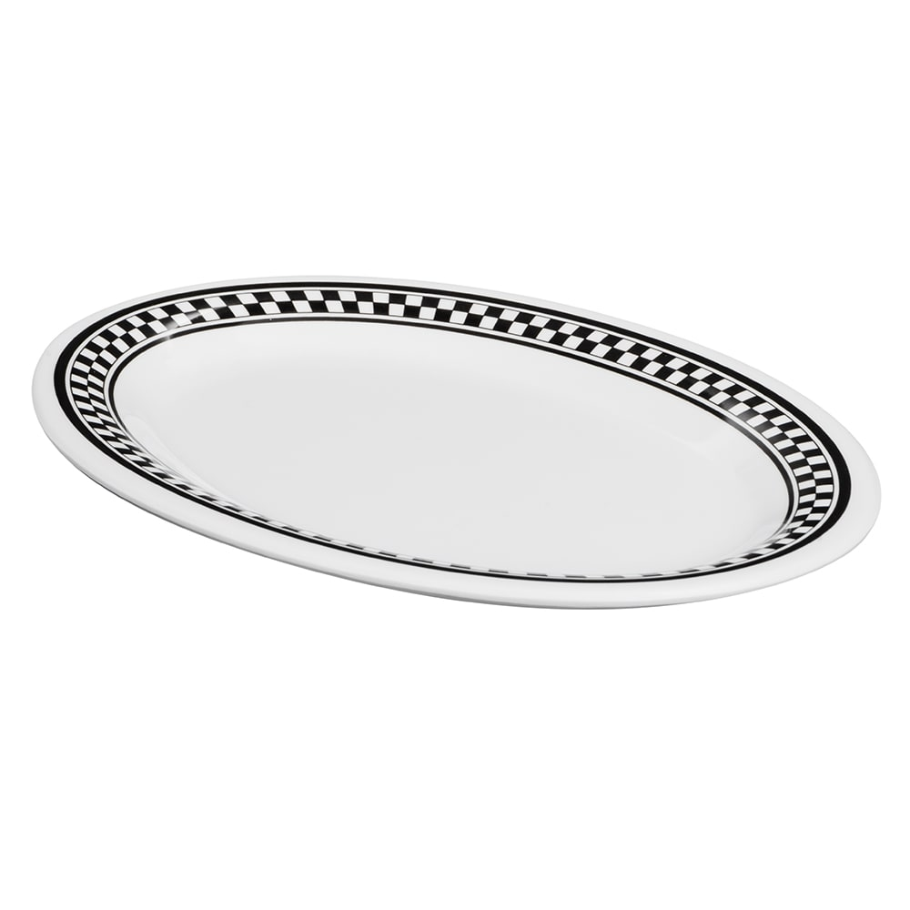 "GET OP-950-X Oval Serving Platter, 9.75"" x 7.25"", Melamine, White"