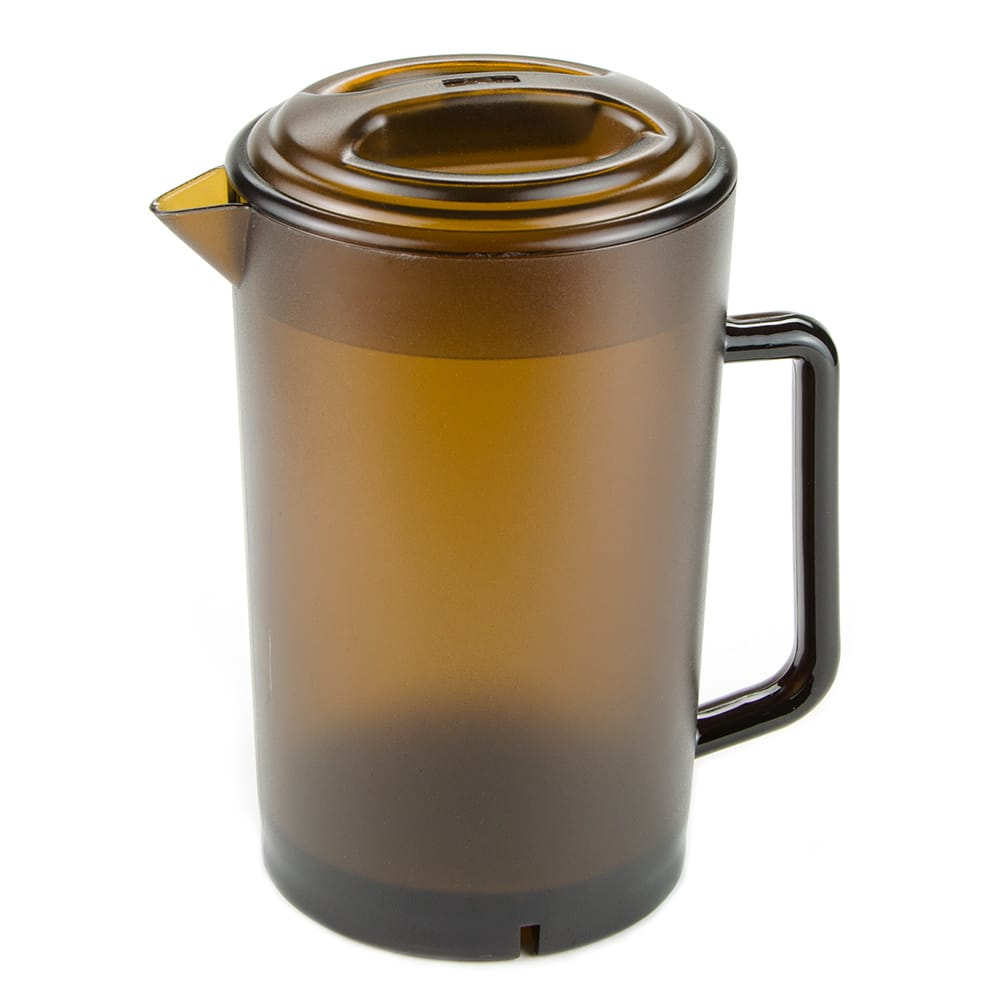 """GET P-3064-1-A 8.5""""H Water Pitcher w/ Lid, Plastic, Amber"""