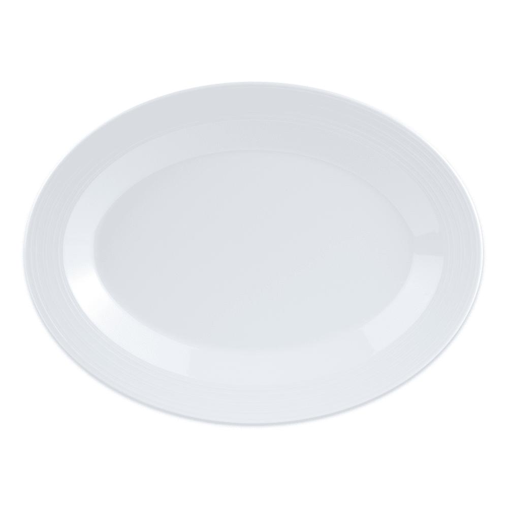 "GET PT-129-MN-W Oval Serving Platter, 12.25"" x 8"", Melamine, White"
