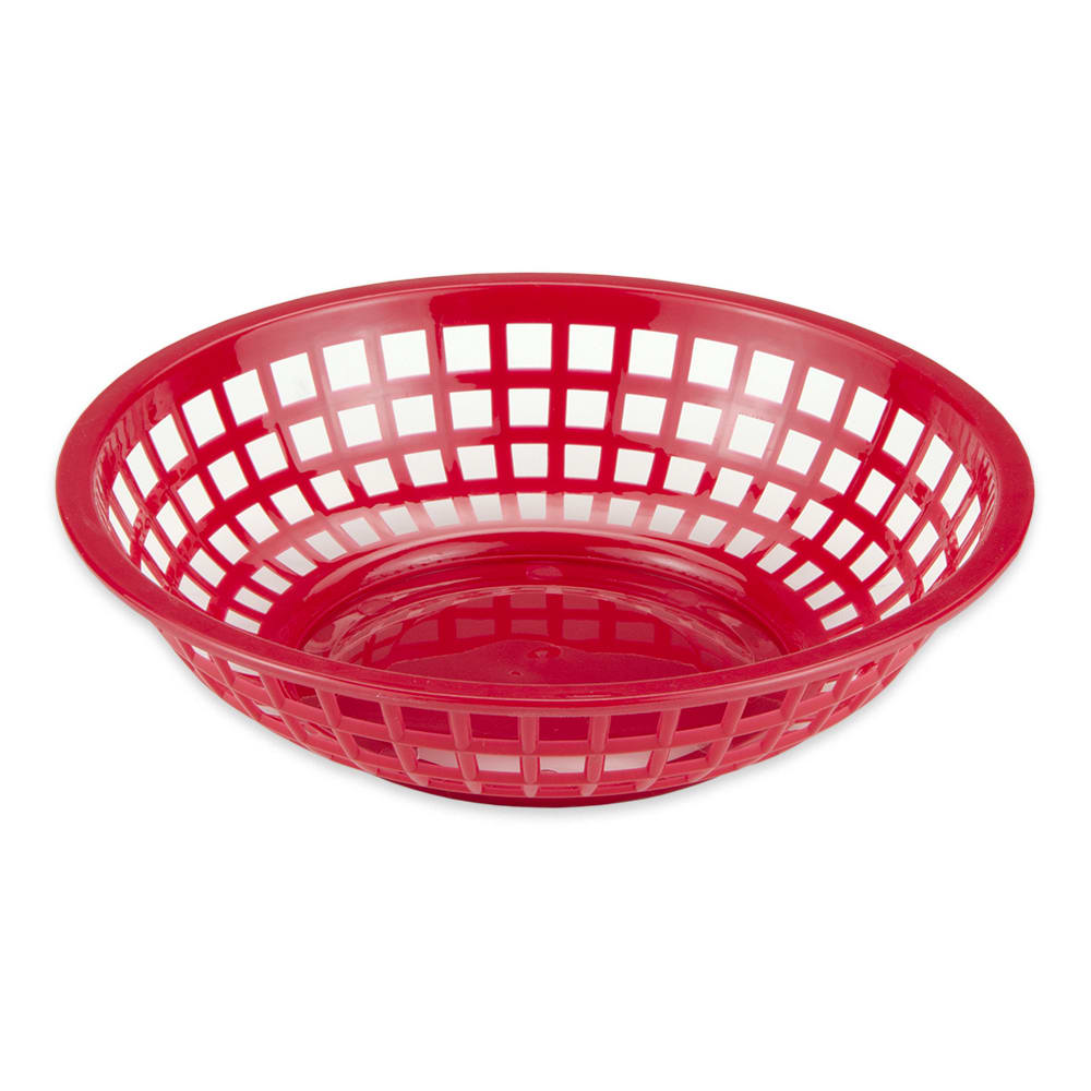 "GET RB-820-R 8"" Round Bread & Bun Basket, Plastic, Red"