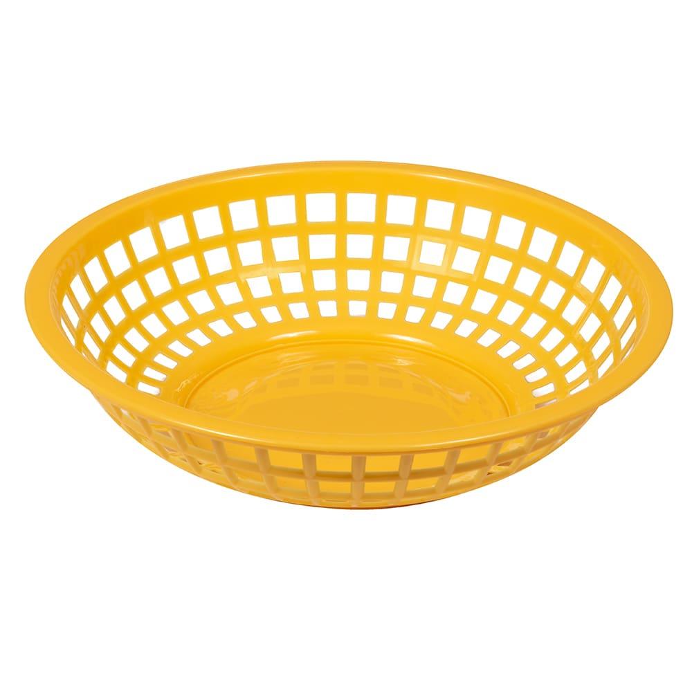 "GET RB-820-Y 8"" Round Bread & Bun Basket, Plastic, Yellow"