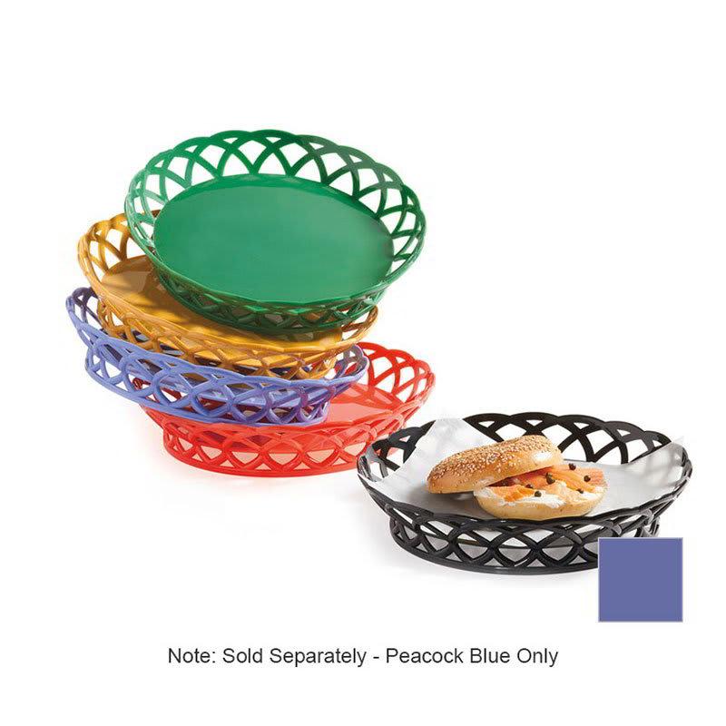 "GET RB-860-PB 10""Round Bread & Bun Basket, Plastic, Peacock Blue"
