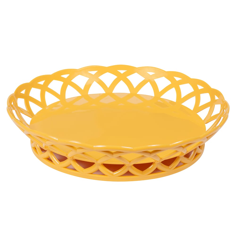 "GET RB-860-TY 10.5"" Round Fast Food Basket, Polypropylene, Yellow"