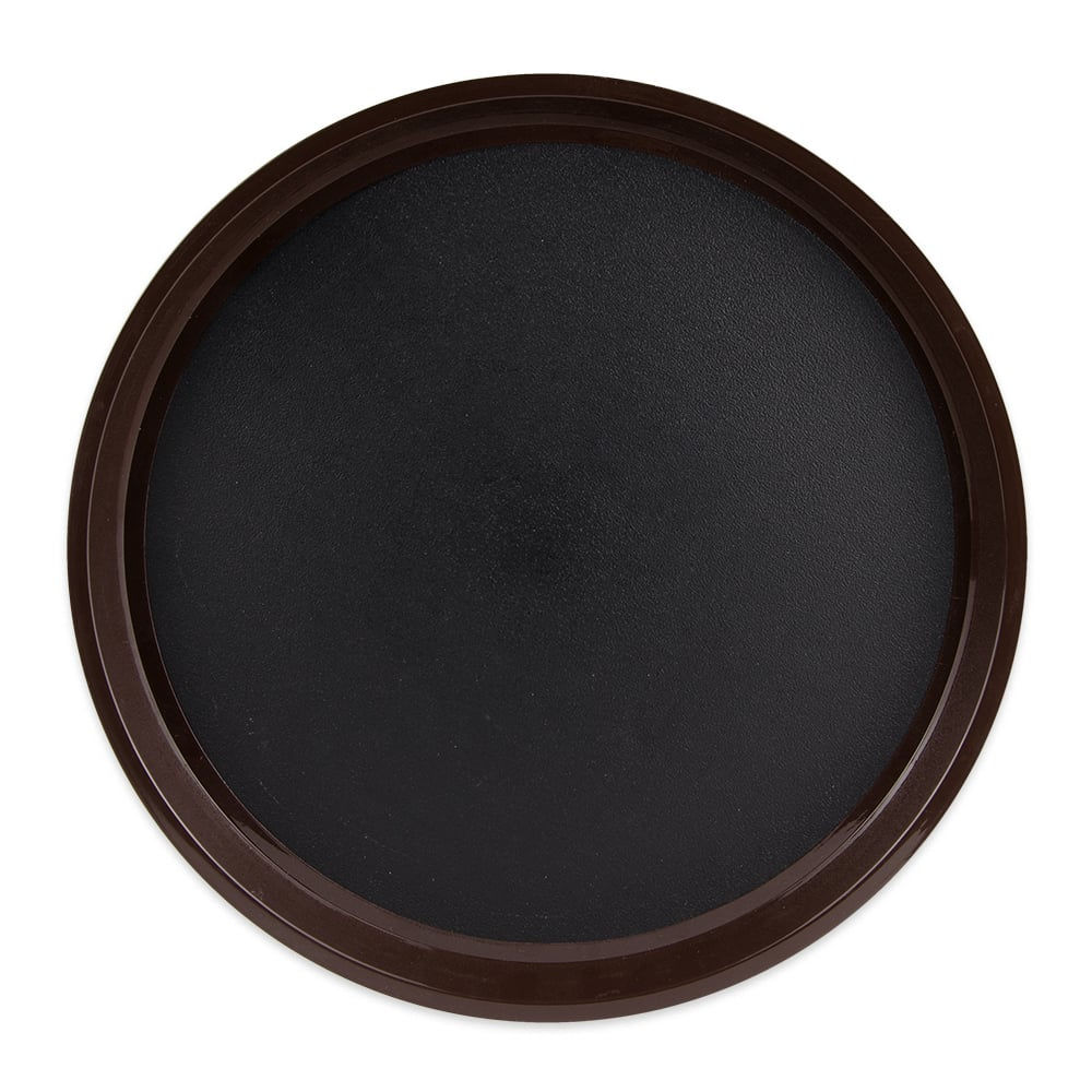 "GET RCT-14-NS 14"" Round Serving Tray, Plastic, Black/Brown"
