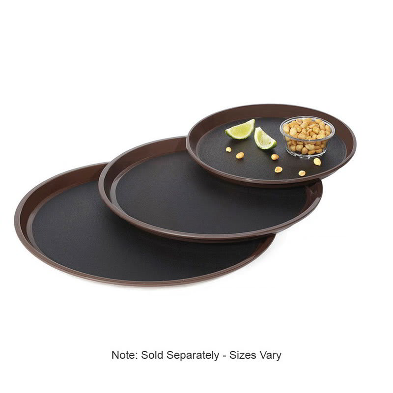 "GET RCT-16-NS 16"" Round Serving Tray, Plastic, Black/Brown"