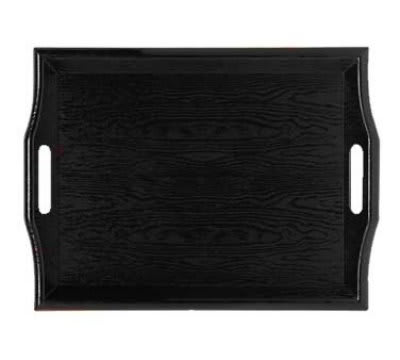 GET RST-1815-BK 18 x 14 in Room Service Tray, Plastic, Wood Look, Black
