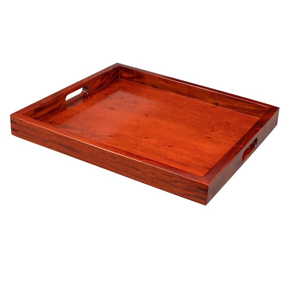 "GET RST-2020-M 21"" Square Room Service Tray, Hardwood, Mahogany"