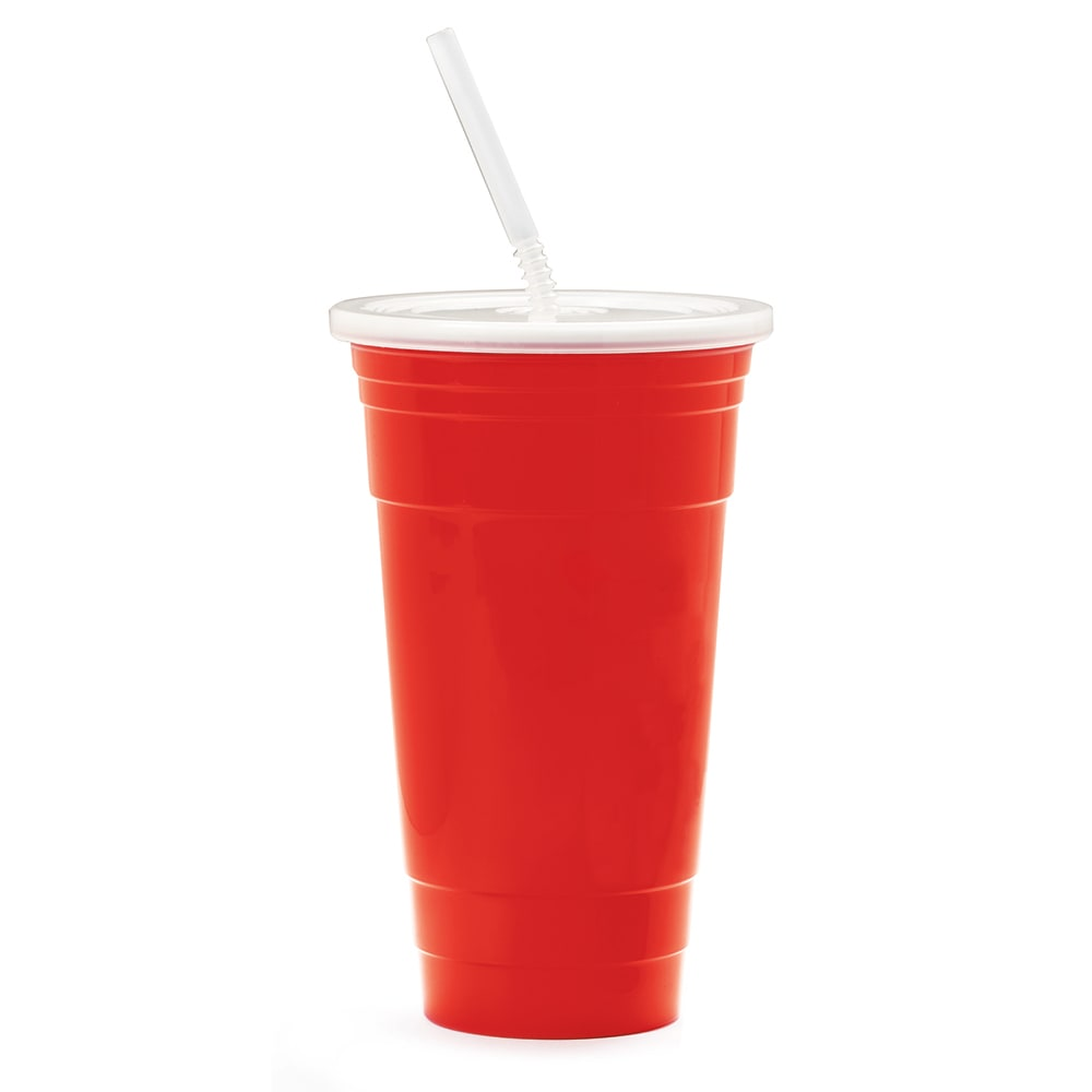 GET SC-32-SET-R 32 oz Tumbler Set w/ Lid & Straw, Polypropylene, Red