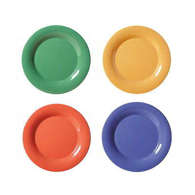 "GET SP-NP-6-MIX 6.5"" Melamine Plate w/ Narrow Rim, Diamond Mardi Gras Colors"