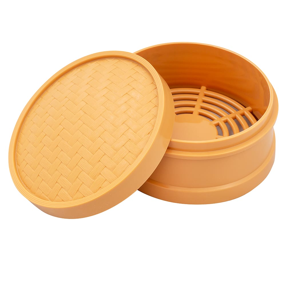 "GET STM-60-HY 6"" Round Steamer Set, Polypropylene, Honey"