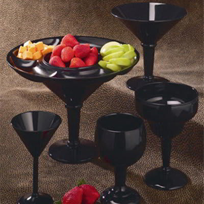 GET SW-1407-BK 10 oz Martini Glass, Black, SAN Plastic