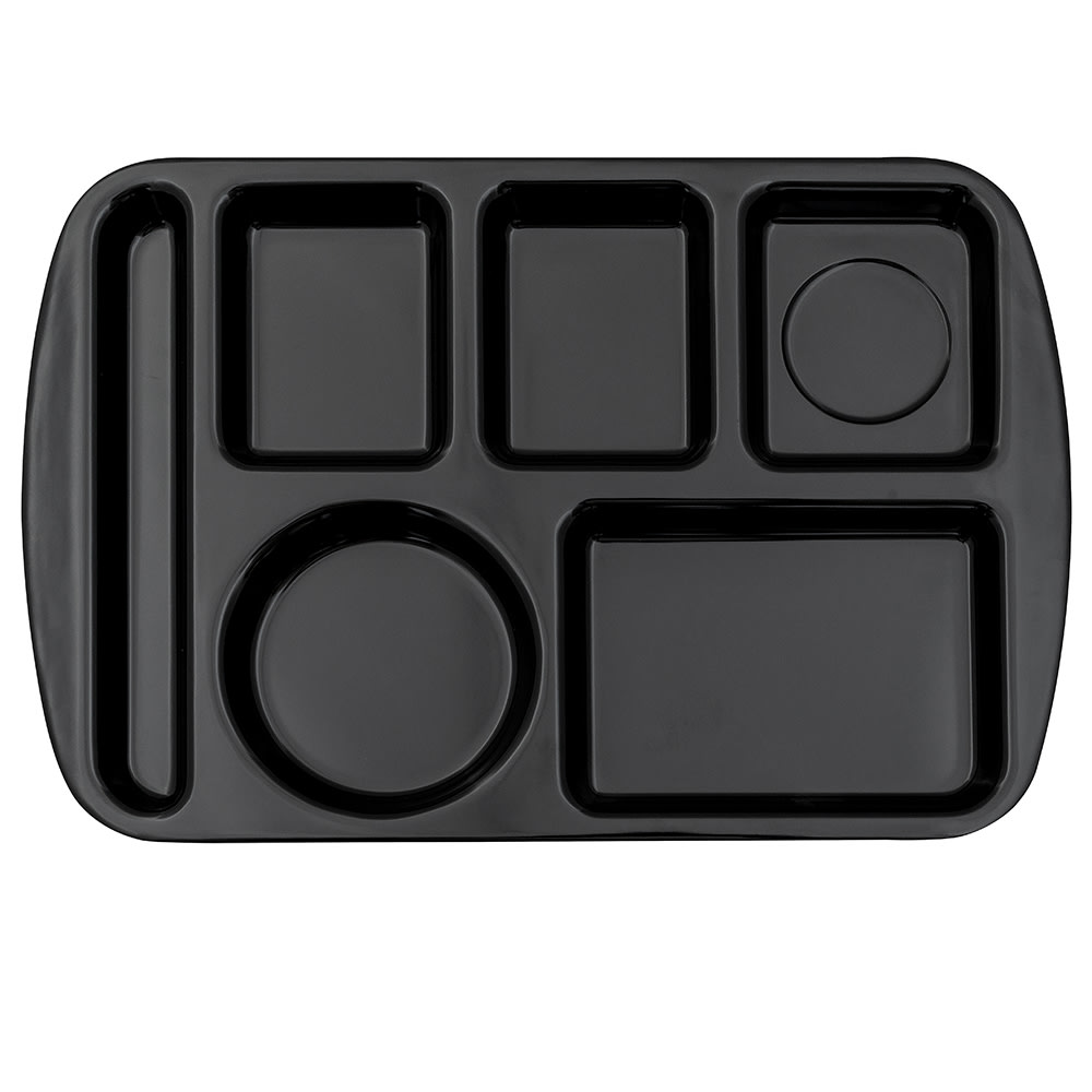 "GET TL-151-BK School Cafeteria Tray w/ (6) Compartments, 14.75"" x 9.5"", Melamine, Black"