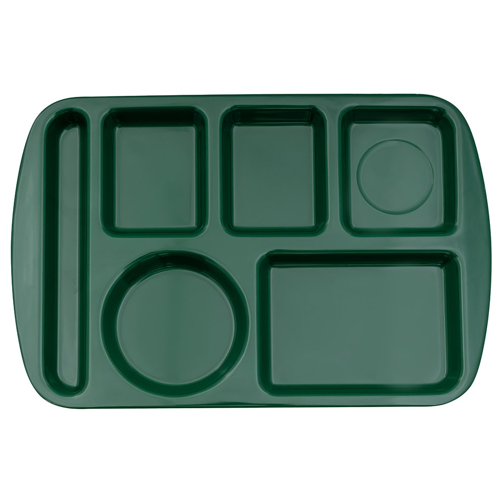 "GET TL-151-HG School Cafeteria Tray w/ (6) Compartments, 14.75"" x 9.5"", Melamine, Green"