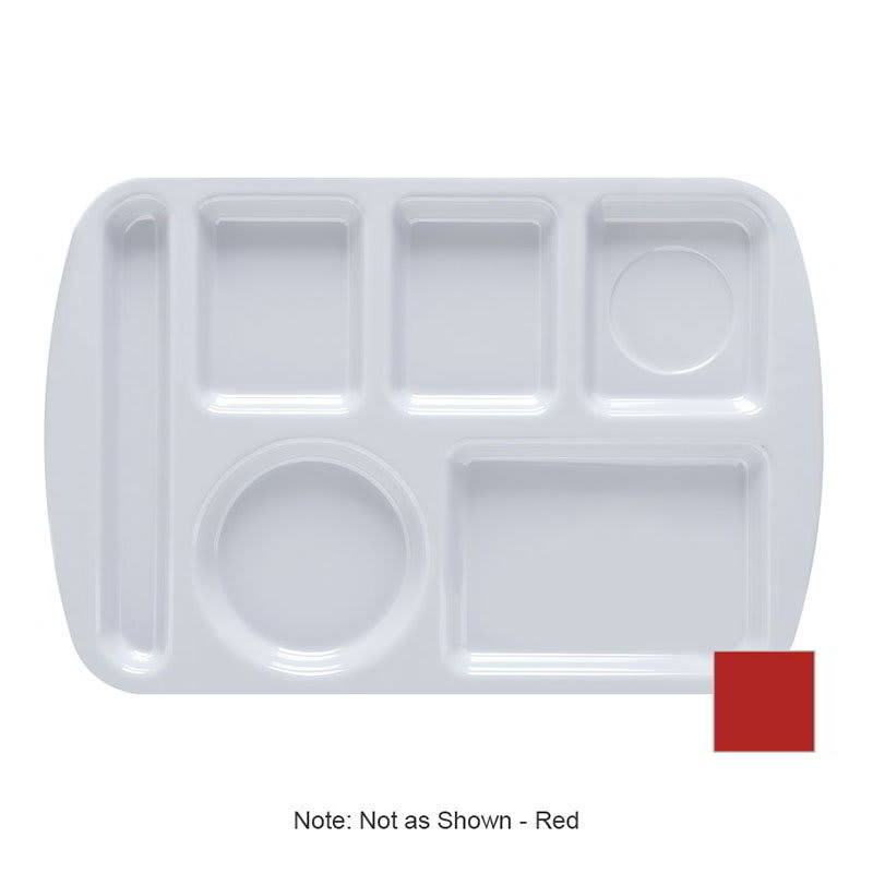 "GET TL-151-R School Cafeteria Tray w/ (6) Compartments, 14.75"" x 9.5"", Melamine, Red"