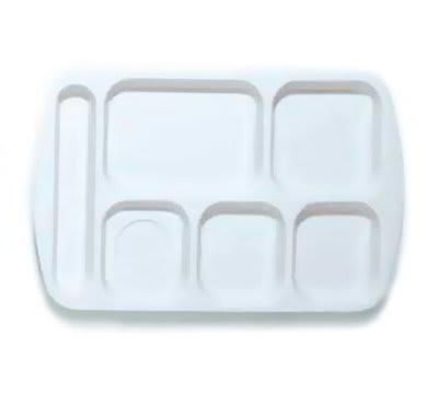 GET TL-151-W School Tray, 6 Compartment, Left-Handed, White