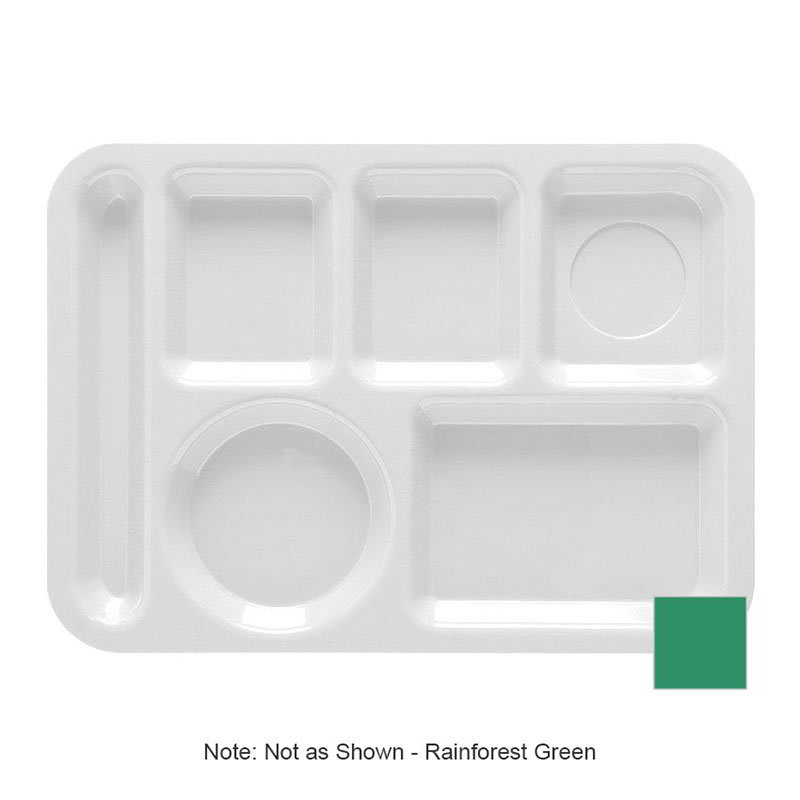 "GET TL-152-FG School Cafeteria Tray w/ (6) Compartments, 14"" x 10"", Melamine, Green"
