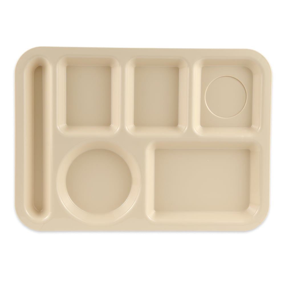 "GET TL-153-T School Cafeteria Tray w/ (6) Compartments, 14"" x 10"", Melamine, Tan"