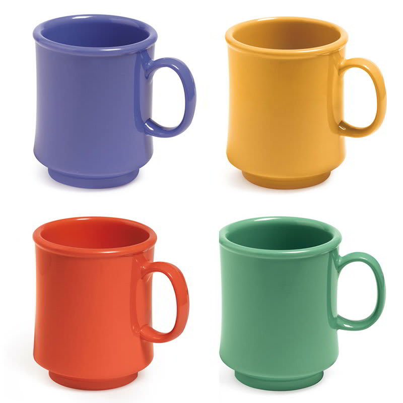 GET TM-1308-MIX (4) 8-oz Coffee Mug, Plastic, Multi-Colored