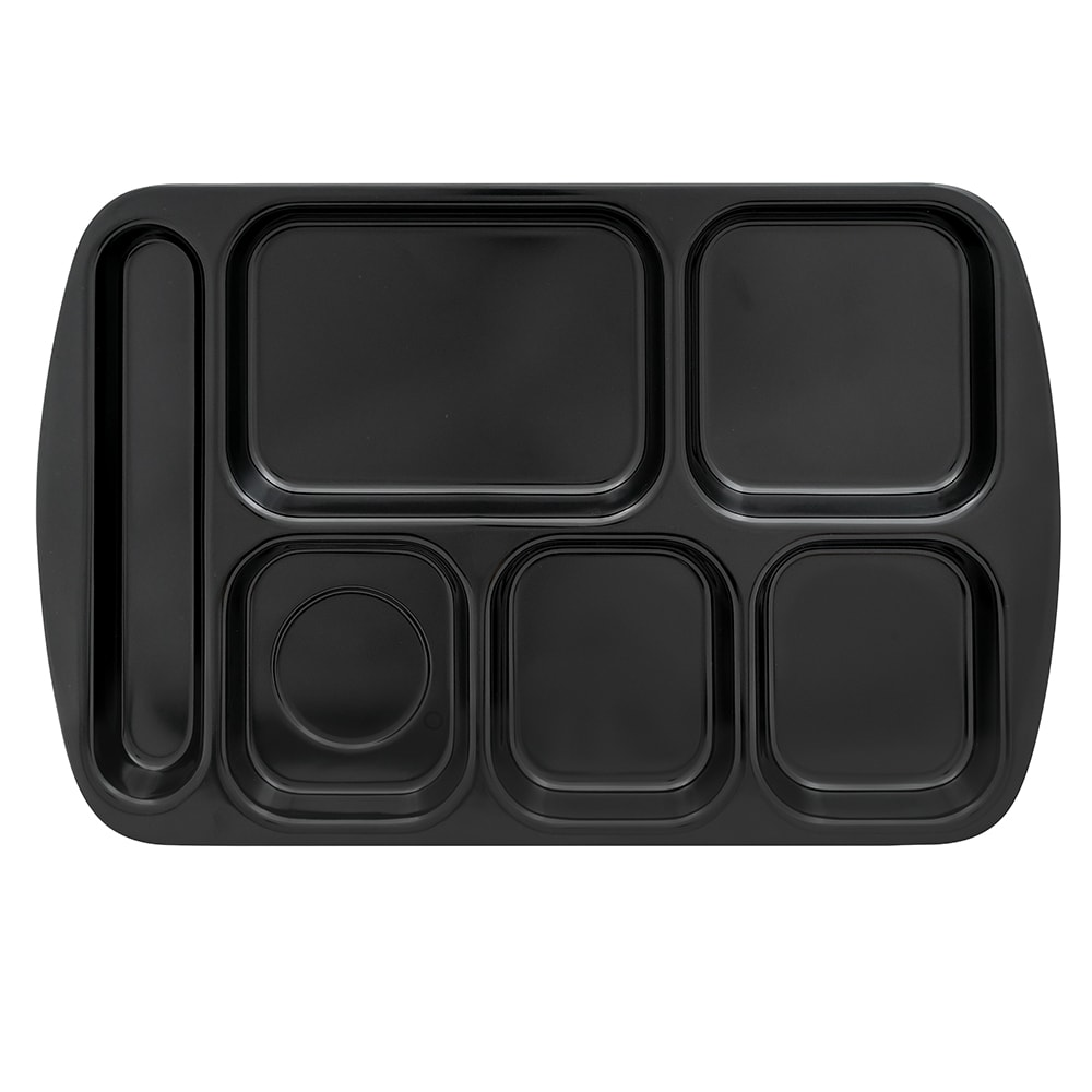 "GET TR-151-BK School Cafeteria Tray w/ (6) Compartments, 15.5"" x 10"", Melamine, Black"
