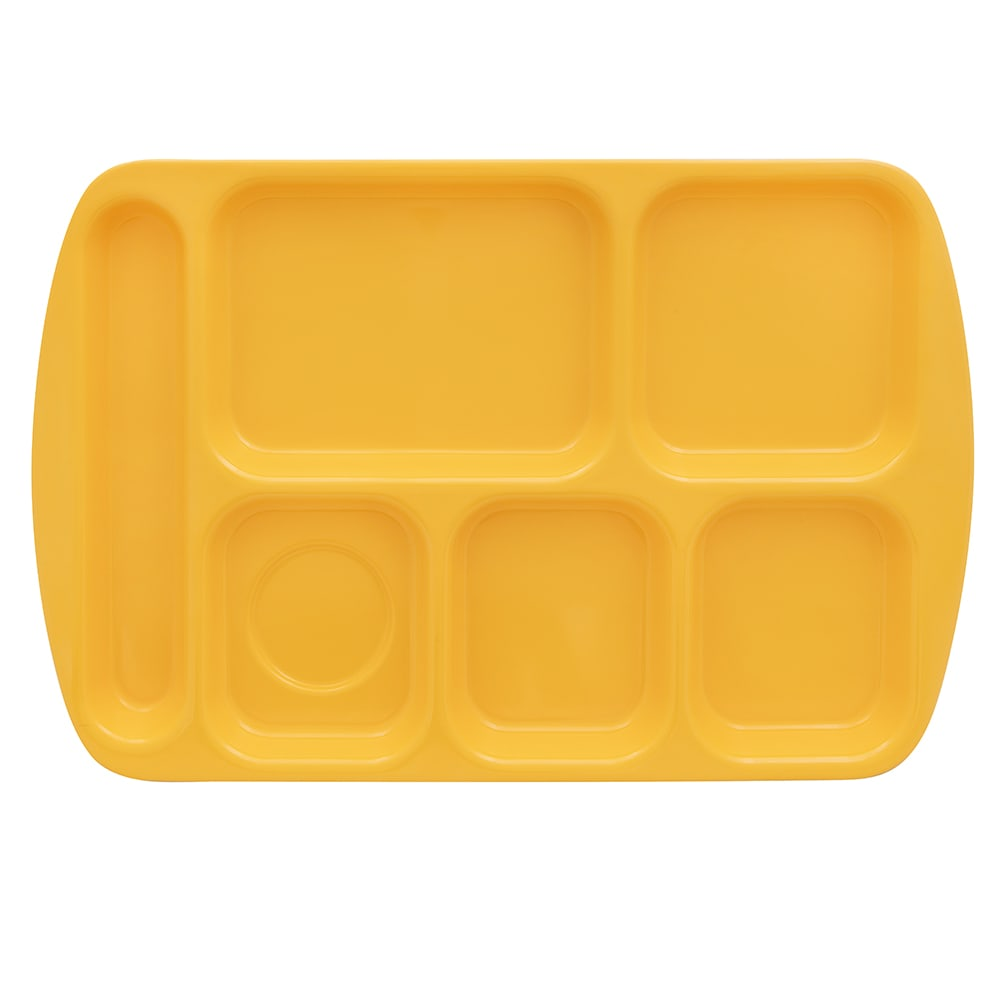 """GET TR-151-BY School Cafeteria Tray w/ (6) Compartments, 15.5"""" x 10"""", Melamine, Yellow"""