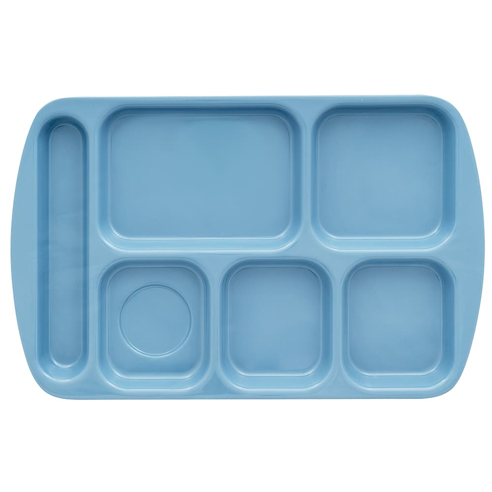 "GET TR-151-FB School Cafeteria Tray w/ (6) Compartments, 15.5"" x 10"", Melamine, Blue"