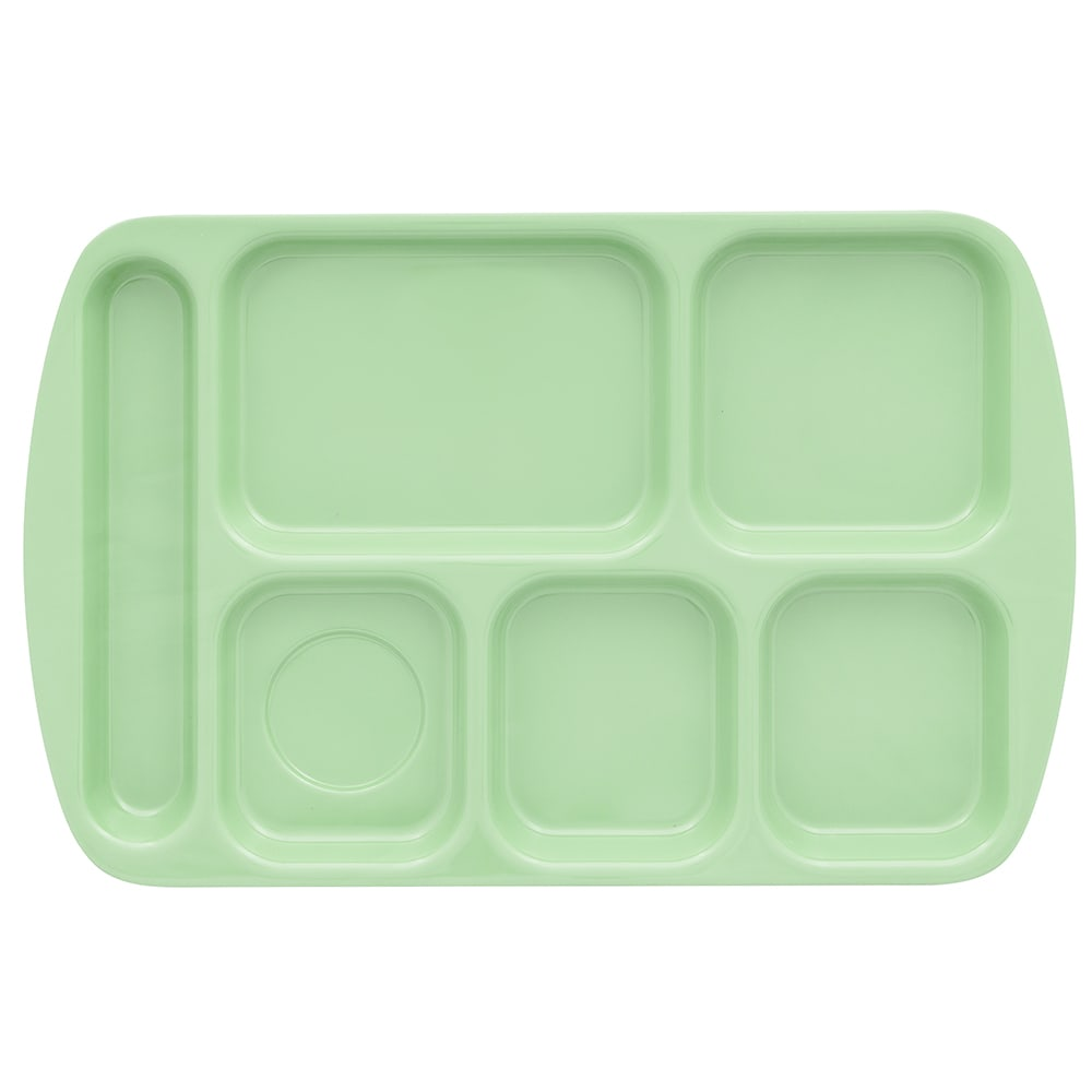"GET TR-151-G School Cafeteria Tray w/ (6) Compartments, 15.5"" x 10"", Melamine, Green"