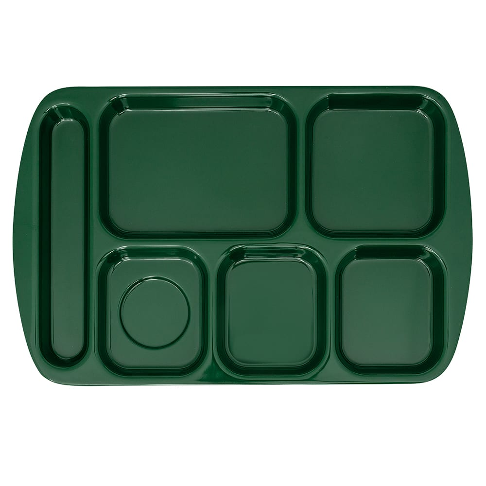 "GET TR-151-HG School Cafeteria Tray w/ (6) Compartments, 15.5"" x 10"", Melamine, Green"