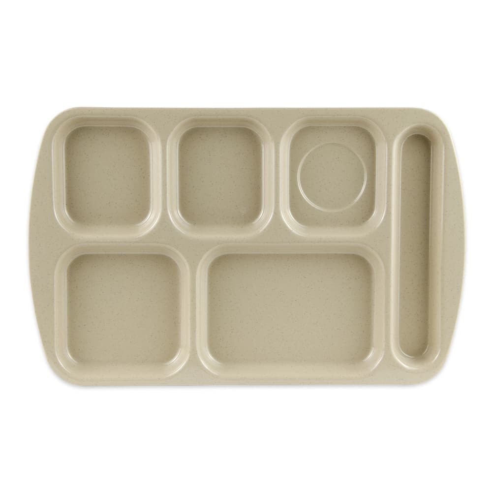 "GET TR-151-S School Cafeteria Tray w/ (6) Compartments, 15.5"" x 10"", Melamine, Sandstone"