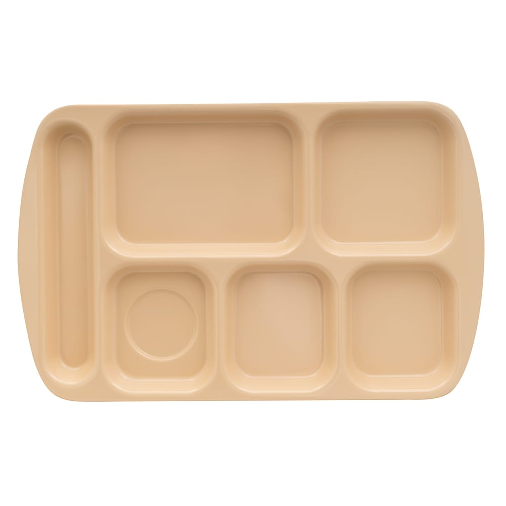 "GET TR-151-T School Cafeteria Tray w/ (6) Compartments, 15.5"" x 10"", Melamine, Tan"