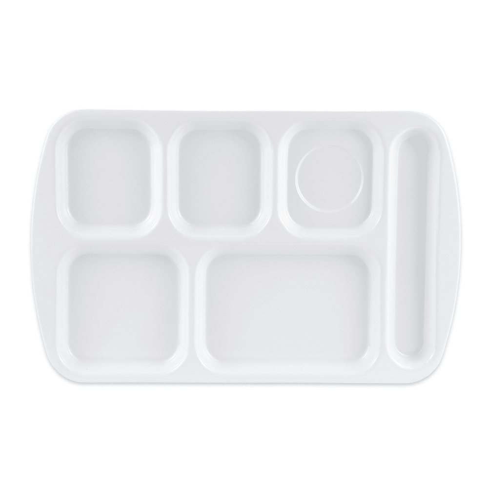 "GET TR-151-W School Cafeteria Tray w/ (6) Compartments, 15.5"" x 10"", Melamine, White"