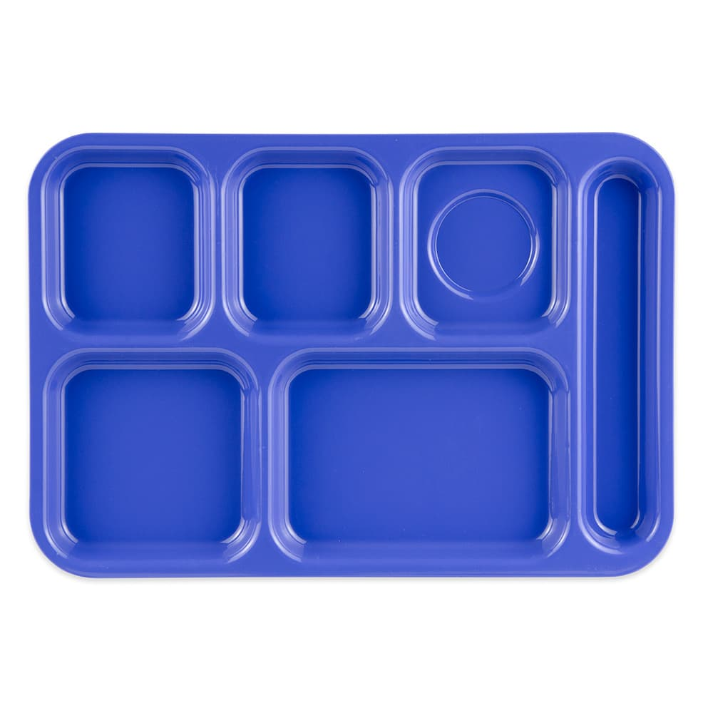 "GET TR-152-PB School Cafeteria Tray w/ (6) Compartments, 14.5"" x 10"", Melamine, Blue"