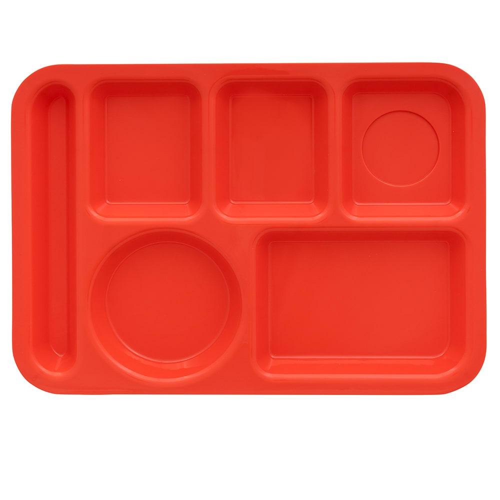 "GET TR-152-RO School Cafeteria Tray w/ (6) Compartments, 14.5"" x 10"", Melamine, Orange"