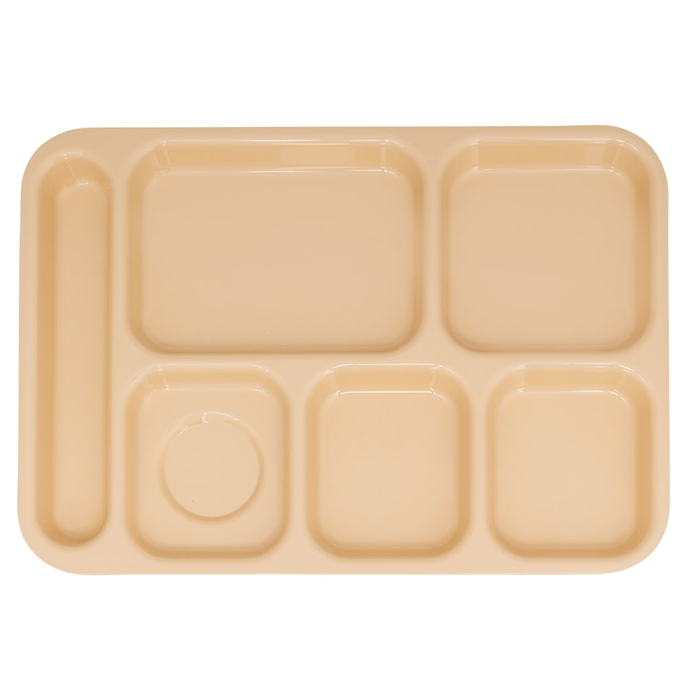 "GET TR-152-T School Cafeteria Tray w/ (6) Compartments, 14.5"" x 10"", Melamine, Tan"