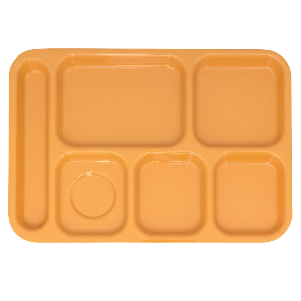 """GET TR-152-TY School Cafeteria Tray w/ (6) Compartments, 14.5"""" x 10"""", Melamine, Yellow"""
