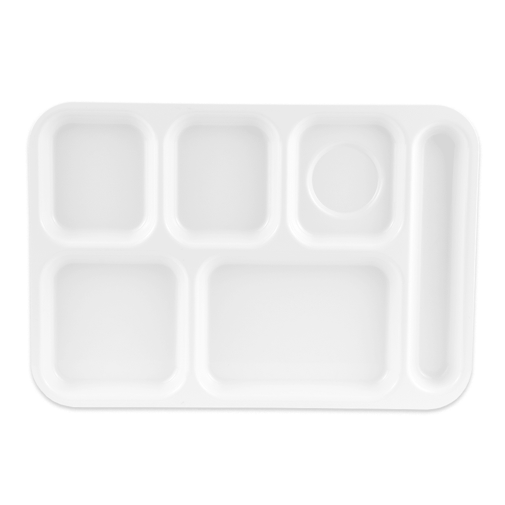 "GET TR-152-W School Cafeteria Tray w/ (6) Compartments, 14.5"" x 10"", Melamine, White"