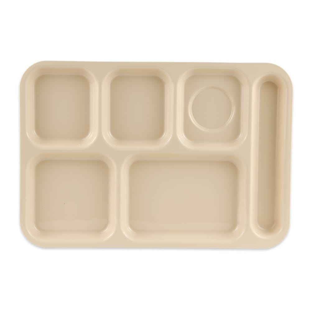 "GET TR-153-T School Cafeteria Tray w/ (6) Compartments, 14.5"" x 10"", Melamine, Tan"