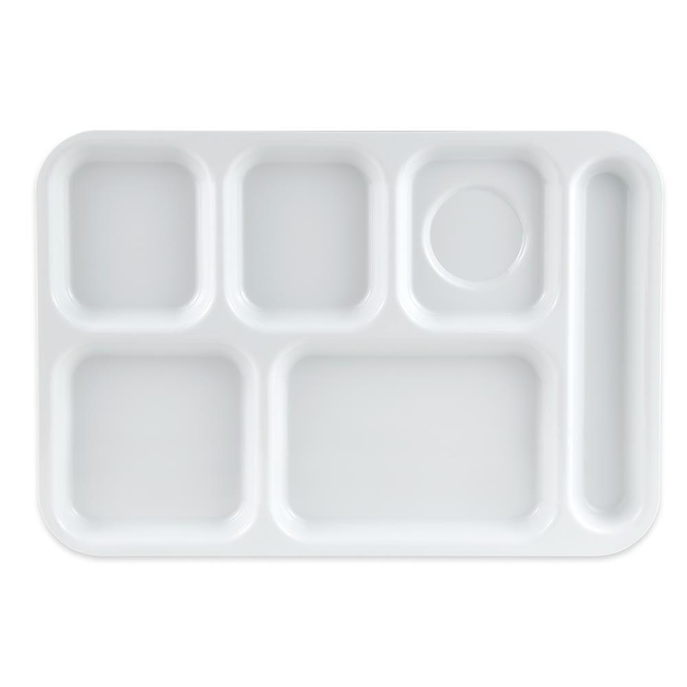 "GET TR-153-W School Cafeteria Tray w/ (6) Compartments, 14.5"" x 10"", Melamine, White"