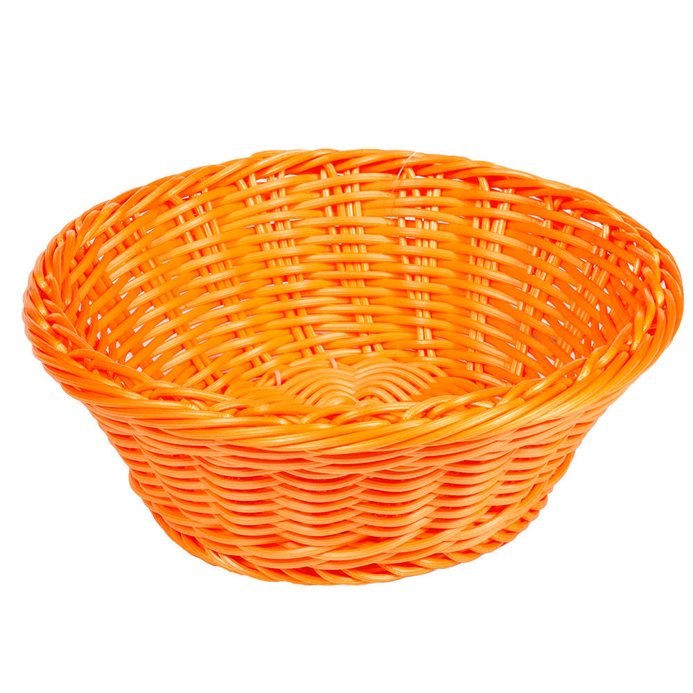 "GET WB-1501-OR 9.5"" Round Serving Basket, Polypropylene, Orange"