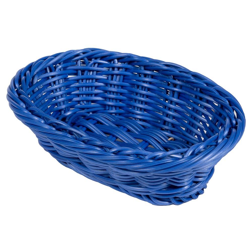 "GET WB-1503-BL Oval Bread & Bun Basket, 9"" x 6.75"", Polypropylene, Blue"