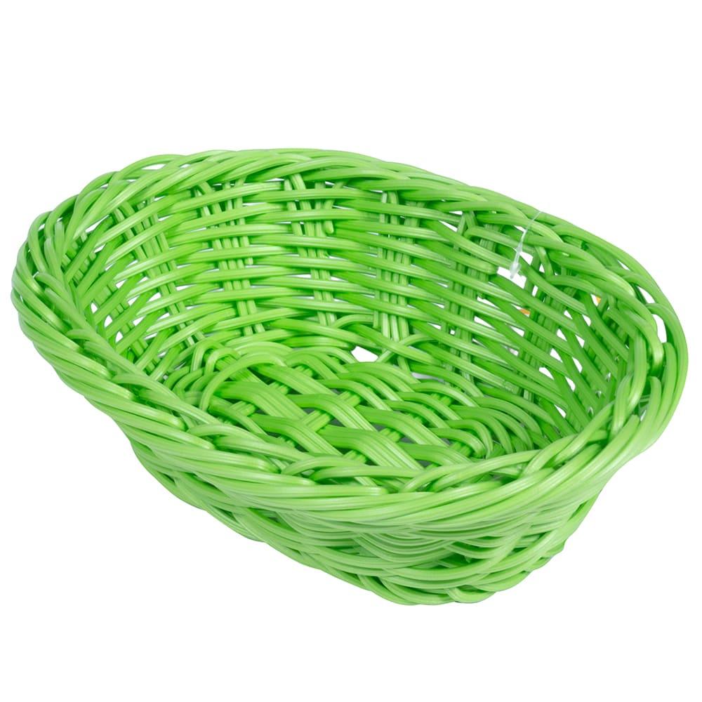 "GET WB-1503-G Oval Bread & Bun Basket, 9"" x 6.75"", Polypropylene, Green"