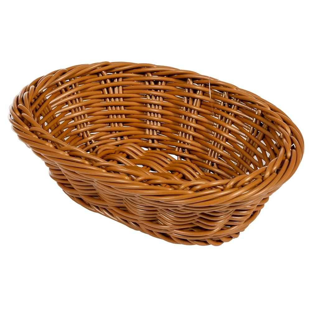 "GET WB-1503-HY Oval Bread Basket, 9"" x 6.75"", Polypropylene, Honey"