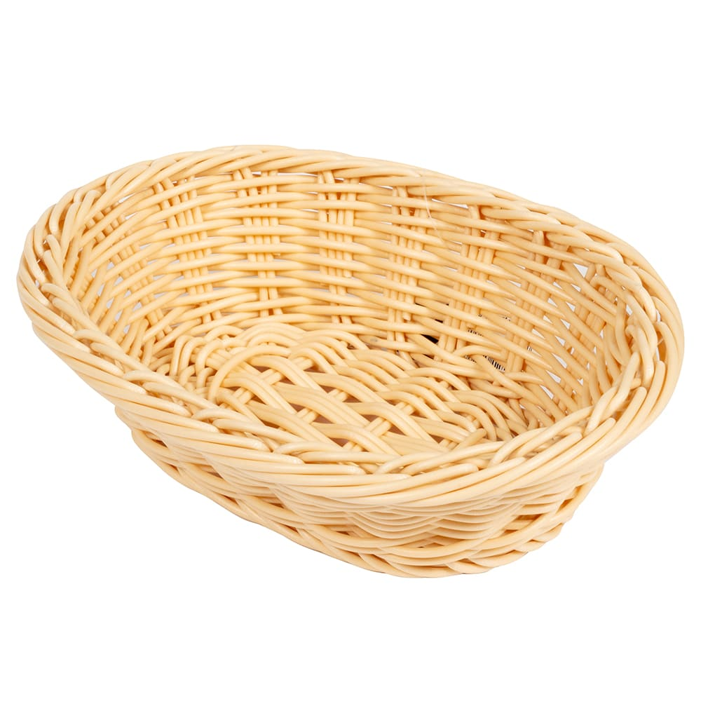 "GET WB-1503-N Oval Bread & Bun Basket, 9"" x 6.75"", Polypropylene, Natural"