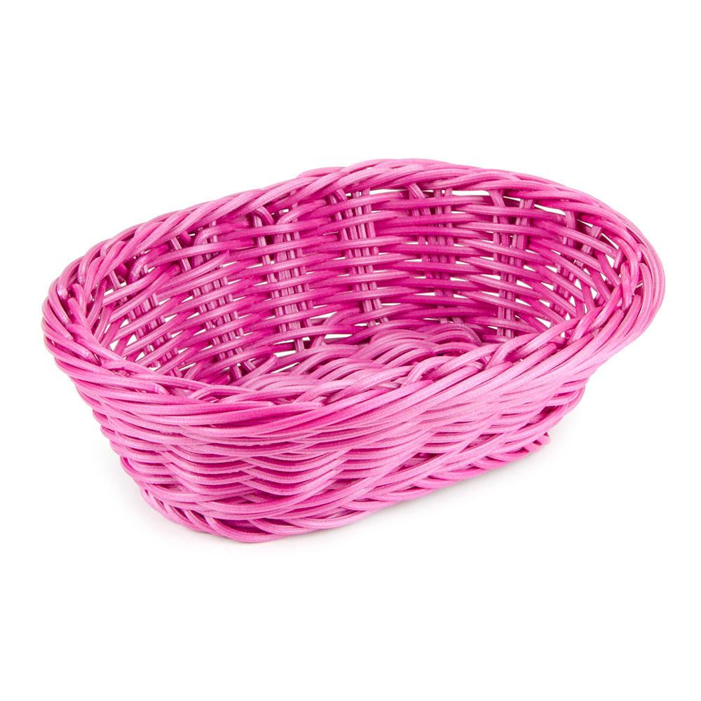 "GET WB-1503-PI Oval Bread & Bun Basket, 9"" x 6.75"", Polypropylene, Pink"