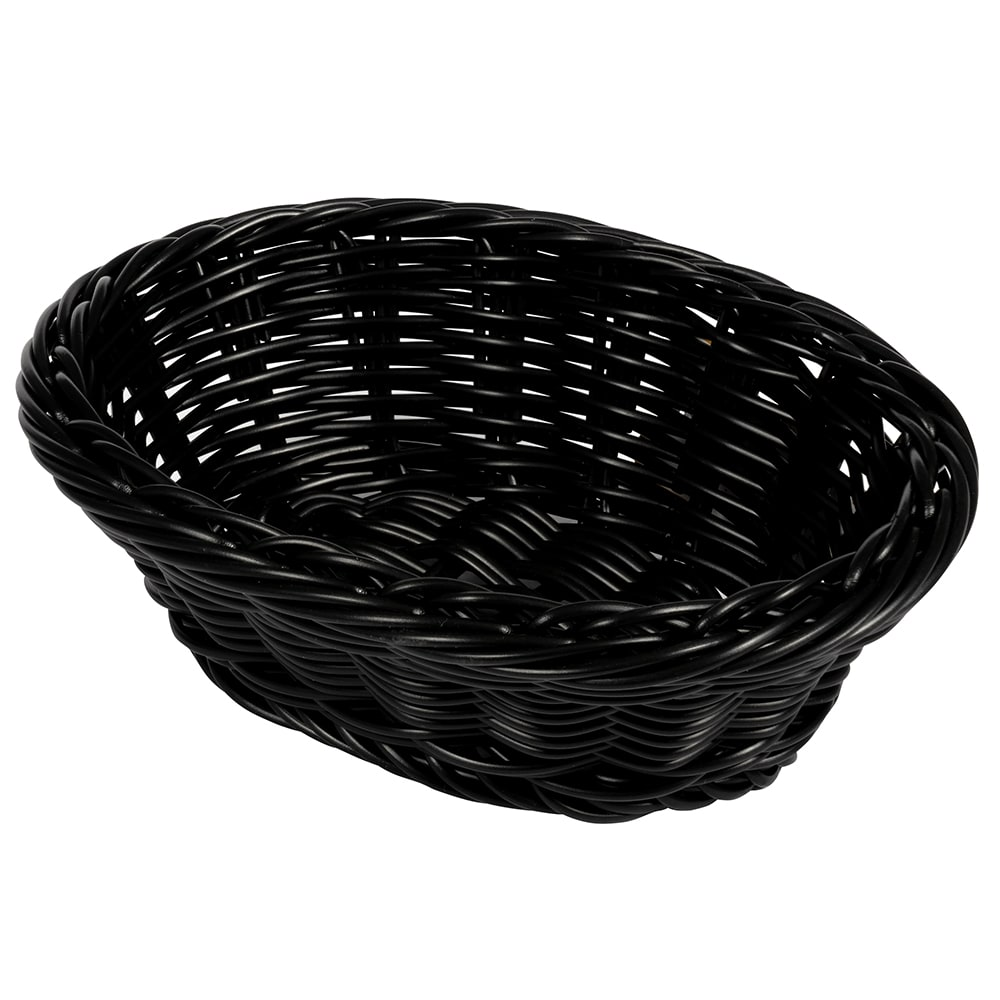 "GET WB-1504-BK Oval Bread & Bun Basket, 9"" x 6.75"", Polypropylene, Black"